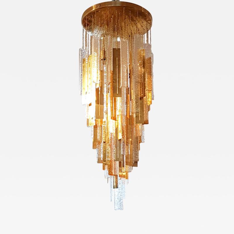 Gaetano Sciolari Large Brass Murano Glass Pendants Chandelier attr to Sciolari 1970s