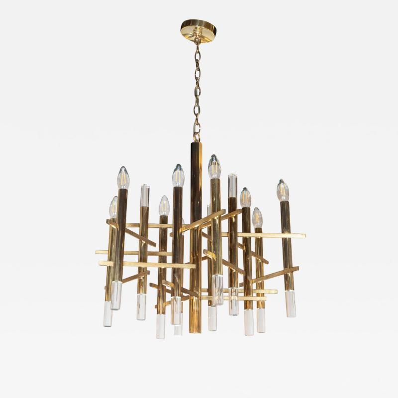 Gaetano Sciolari Mid Century Modern Rectilinear Polished Brass and Lucite Chandelier by Sciolari