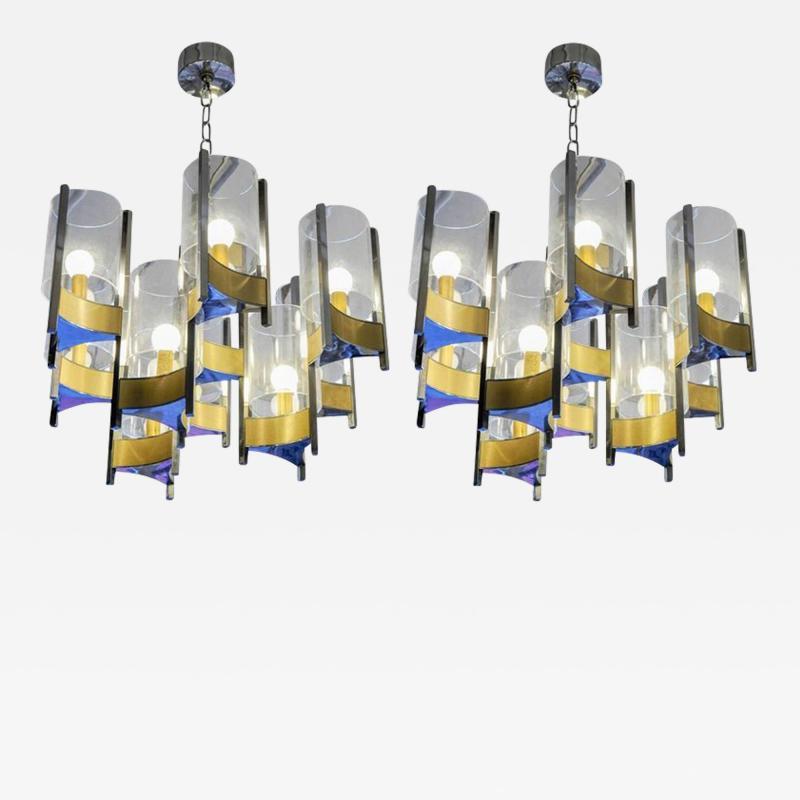 Gaetano Sciolari Pair of Chandeliers in Brass and Nickel Finishes by Gaetano Sciolari with Glass