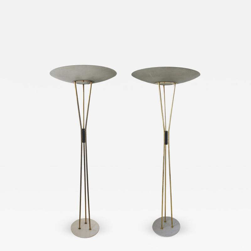 Gaetano Sciolari Pair of Floor Lamps in Glass Brass and Marble