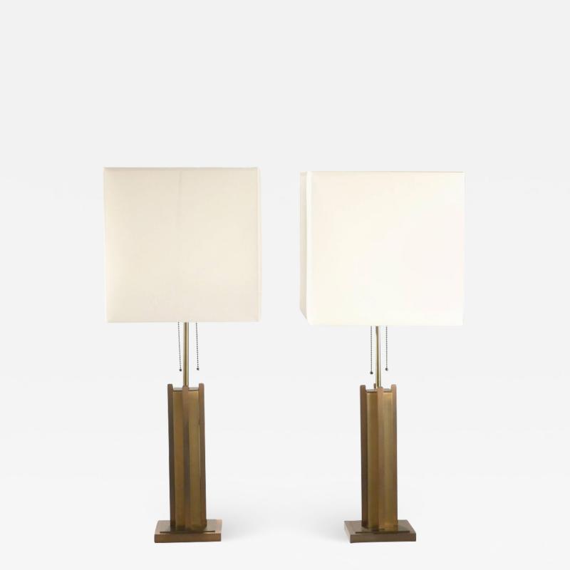 Gaetano Sciolari Pair of Gaetano Sciolari brass and bronze lamps 1970 s