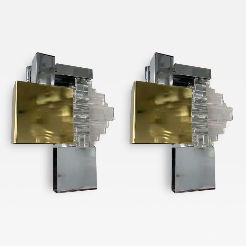 Gaetano Sciolari Pair of Metal Brass Glass Sconces by Sciolari for Stilkronen Germany 1970s