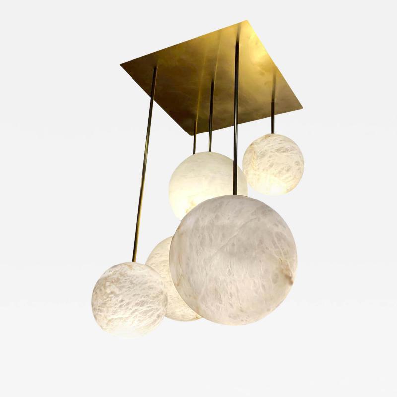 Galaxy Contemporary Italian Alabaster Marble Globe Chandelier