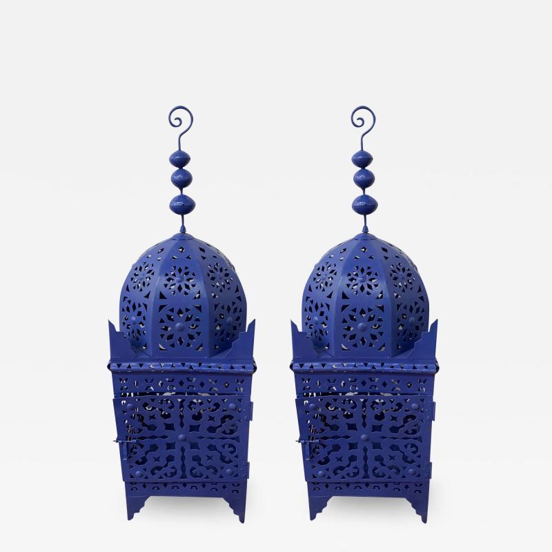 Garden Floor Lantern or Candleholder in Blue a Pair