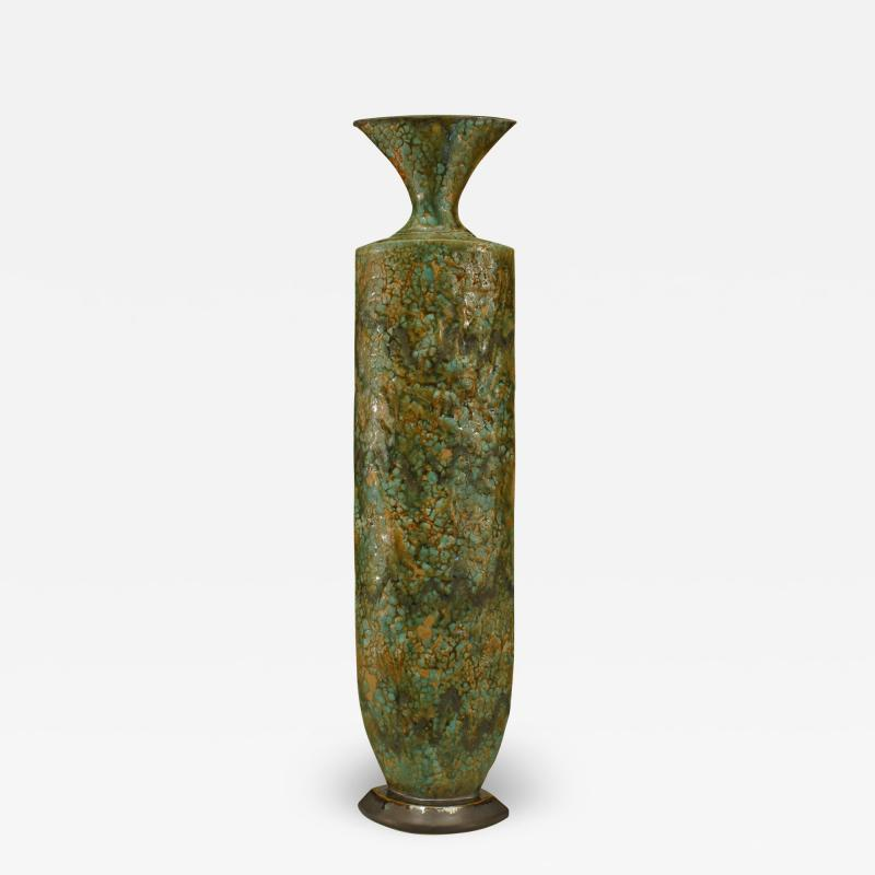 Gary DiPasquale Glazed Green Textured Ceramic Rain Forest Tapered Oval Vase