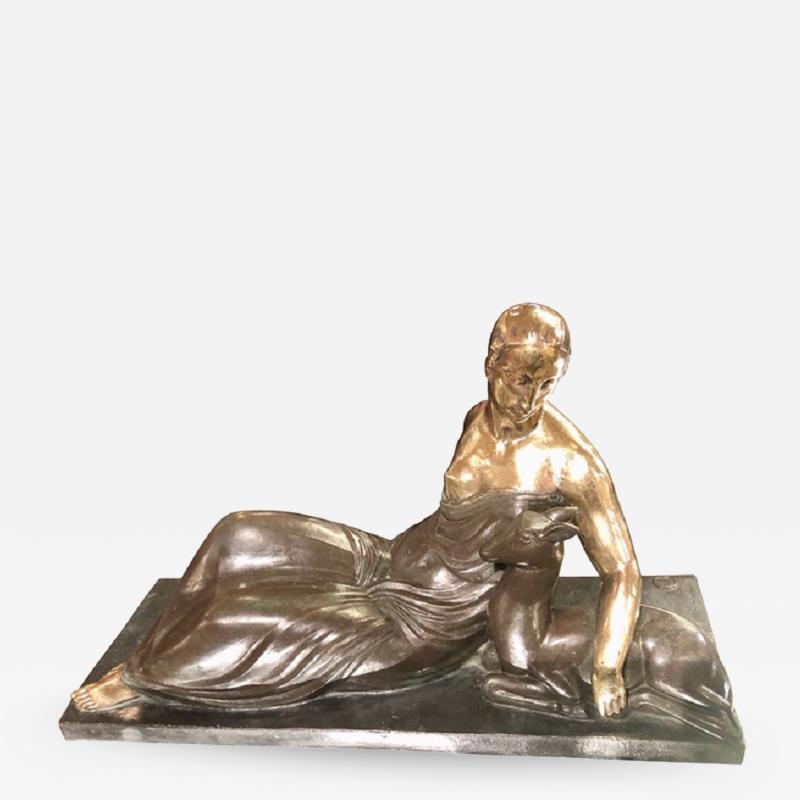 Gaston B guin French Art Deco Golden Bronze Sculpture by Gaston Beguin
