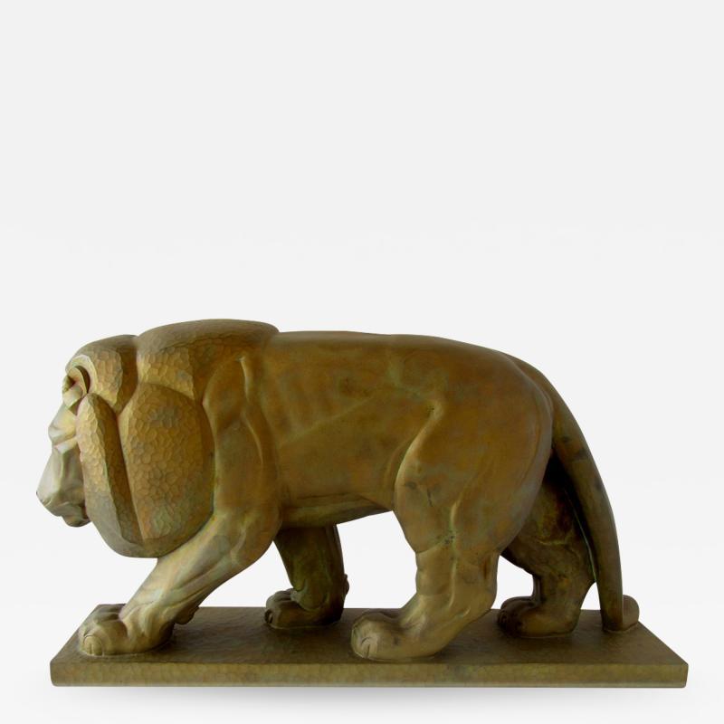 Gaston Etienne Le Bourgeois A Monumental French Art Deco Bronze Model of A Lion