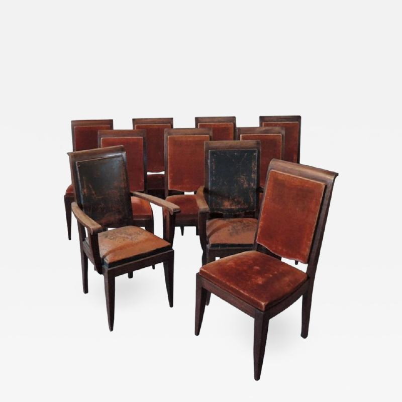Gaston Poisson SET OF 10 FRENCH ART DECO MAHOGANY CHAIRS BY GASTON POISSON 8 SIDE AND 2 ARM