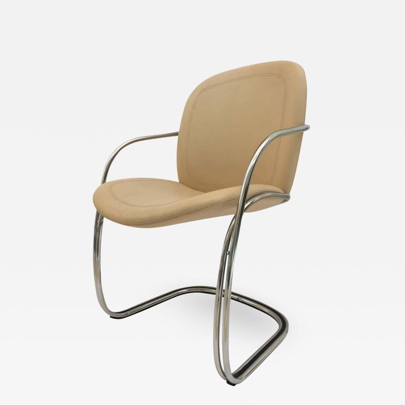 Gastone Rinaldi Italian Chrome and Leather Chairs by Gastone Rinaldi for RIMA circa 1970s