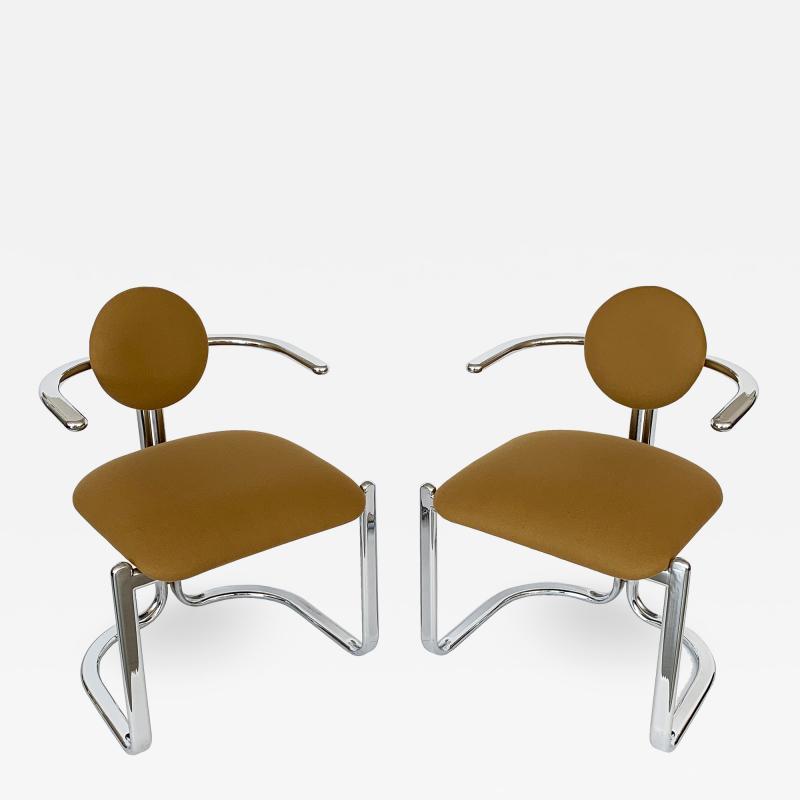 Gastone Rinaldi Pair of Chrome Armchairs by Gastone Rinaldi for Thema Italy