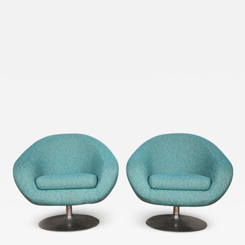 Gastone Rinaldi Pair of Swivel Lounge Chairs by Gastone Rinaldi in Turquoise Tweed 1970 Italy