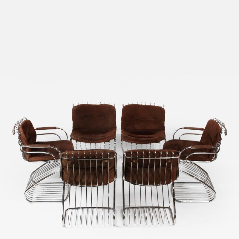 Gastone Rinaldi Set of 6 Solid Steel Gastone Rinaldi Italian Modernist Dining Chairs for Rima