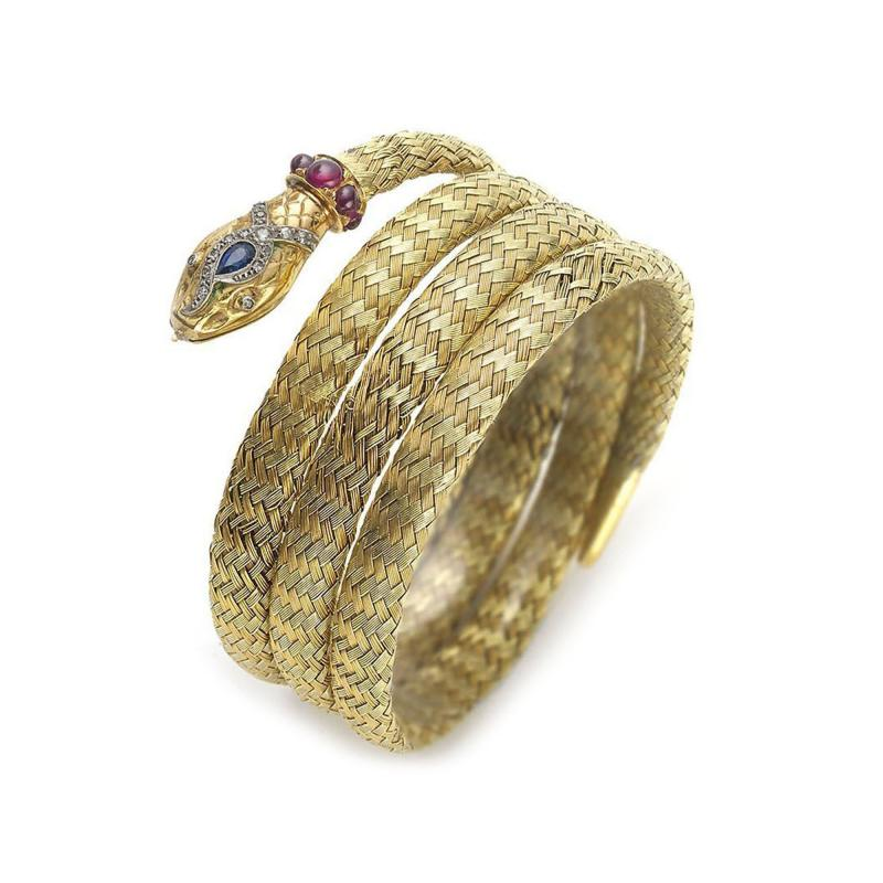 The Yellow Room An Interior Gem By London S Aorta: Gem Set Two Color Woven Gold Snake Bracelet