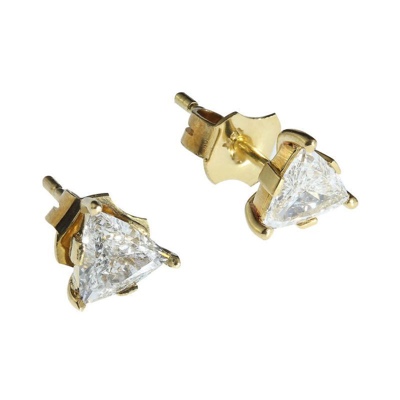 Gemjunky 1 25 Carat Glittering Trillion Diamond Stud Earrings