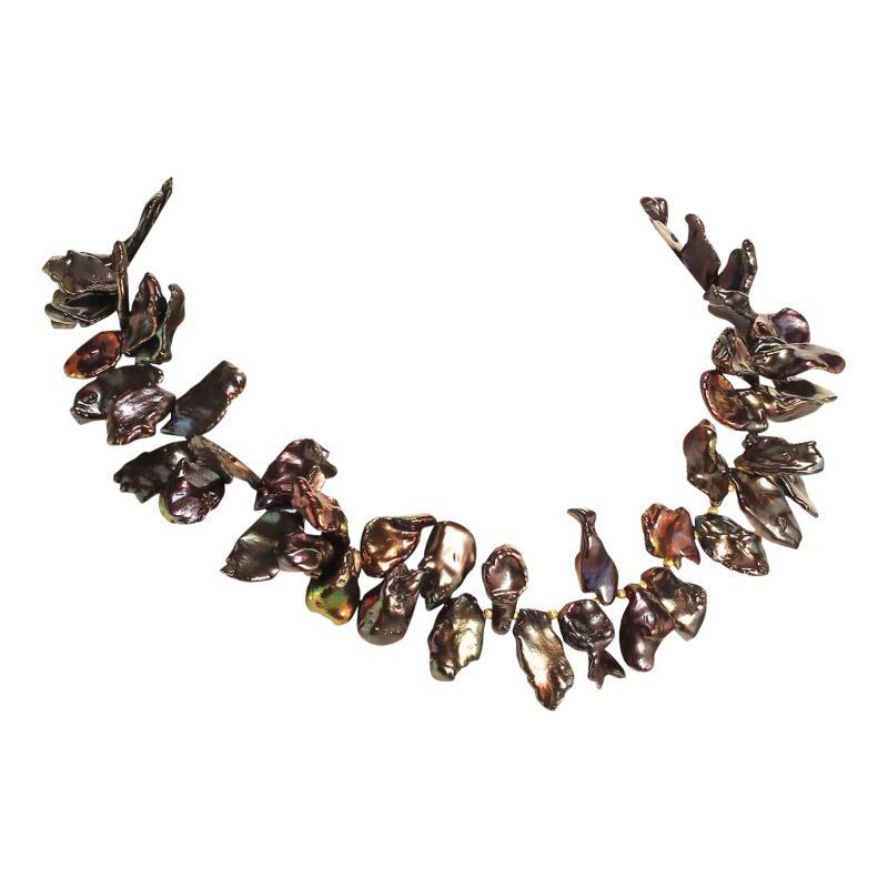 Gemjunky 18 Inch Walnut Maroon Color Keshi Pearl necklace