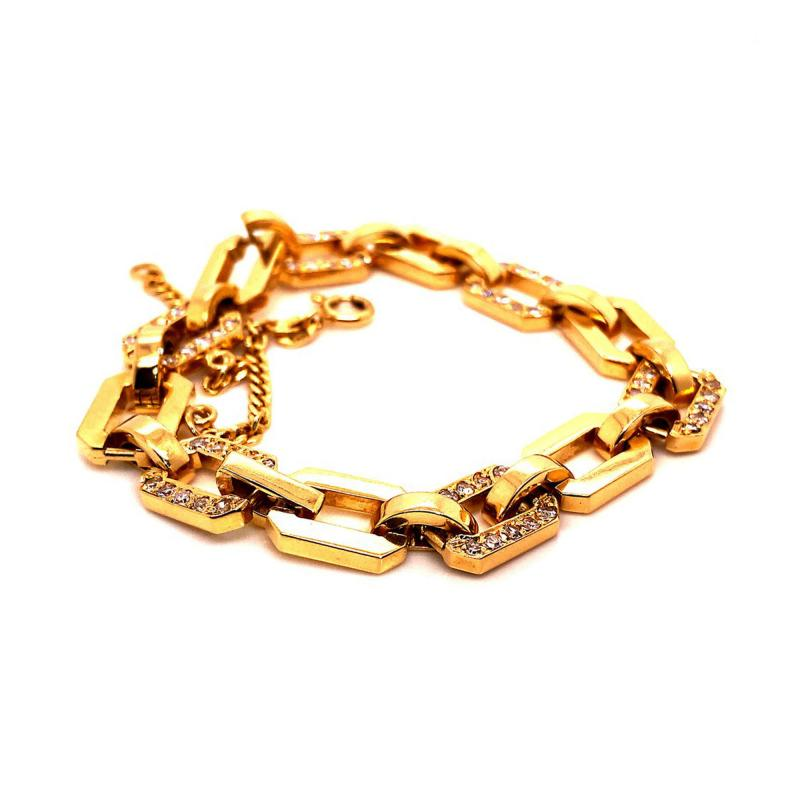 Gemjunky 18K Rich Yellow Gold Diamond Square Link Bracelet