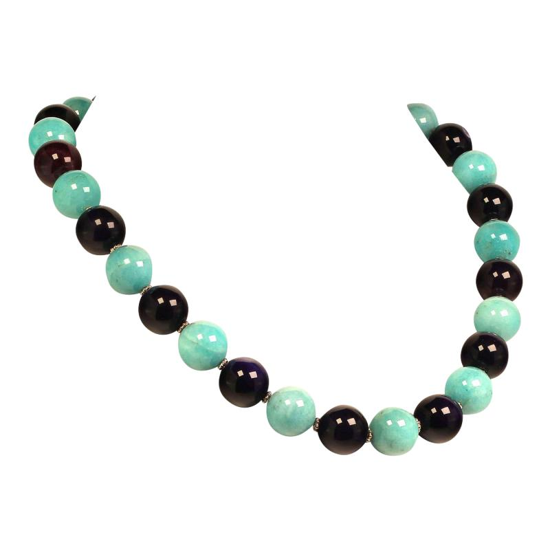 Gemjunky 20 Inch Necklace of Amazonite and Amethyst Spheres with Diamond Clasp