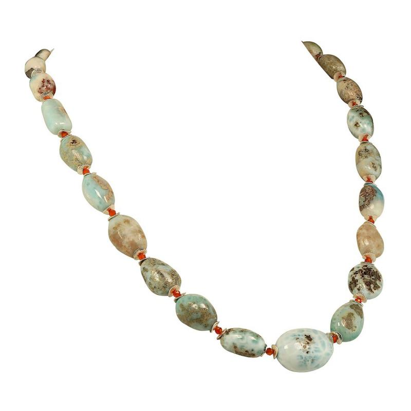 Gemjunky 23 Inch Graduated Larimar necklace