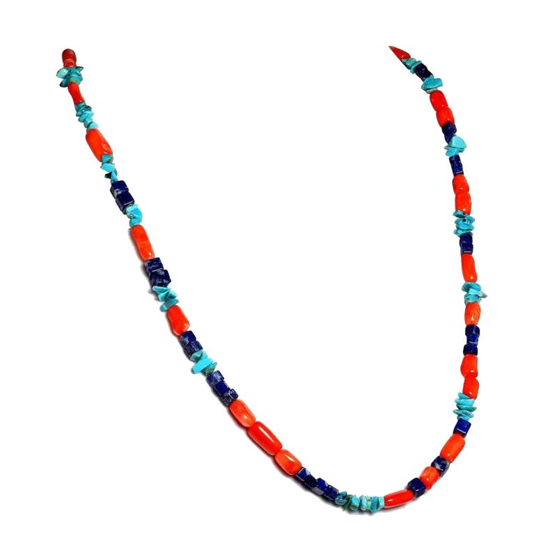 Gemjunky 35 Inch Southwest style necklace of Coral Lapis and Turquoise