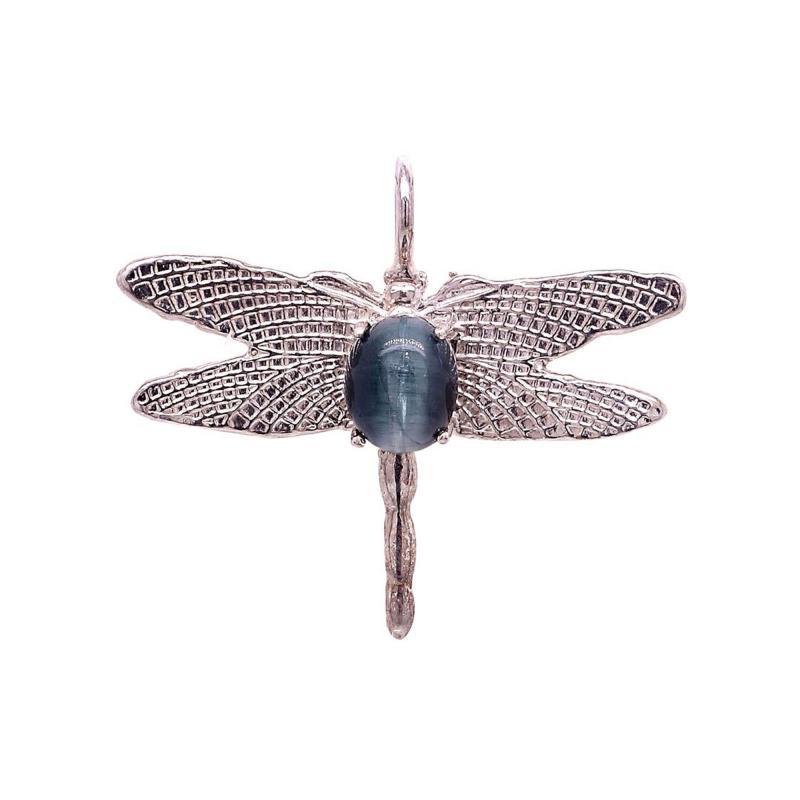 Gemjunky Blue Cats Eye Tourmaline set in Sterling Silver Dragonfly Pendant