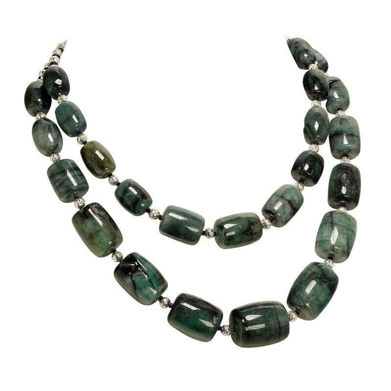 Gemjunky Double strand Graduated Barrel shaped Emerald necklace with Silver