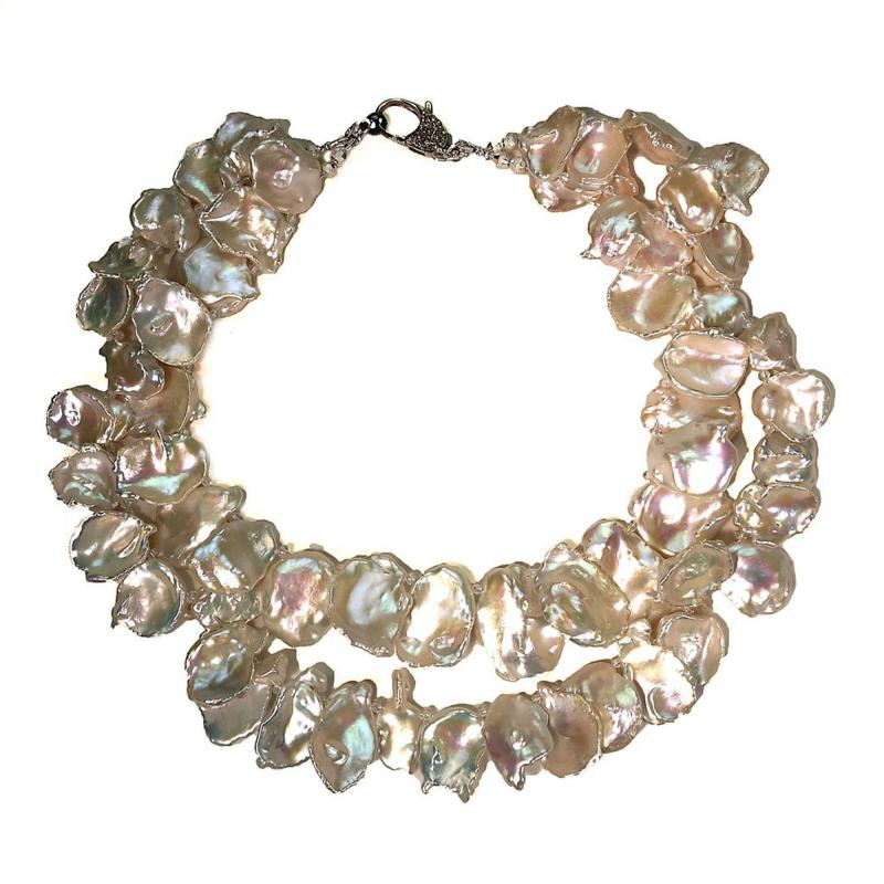 Gemjunky Double strand Iridescent White Keshi Pearl Choker Necklace