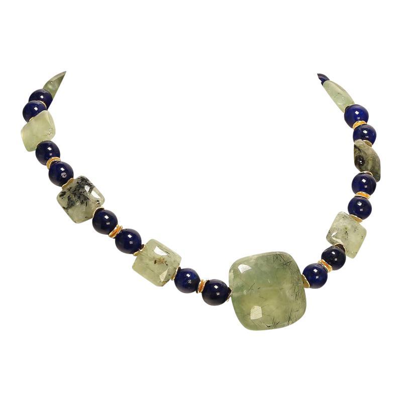 Gemjunky Elegant Green Prehnite and Blue Agate Choker Necklace