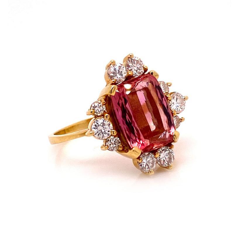 Gemjunky Elegant Pink Tourmaline and Diamond 18K Yellow Gold Ring