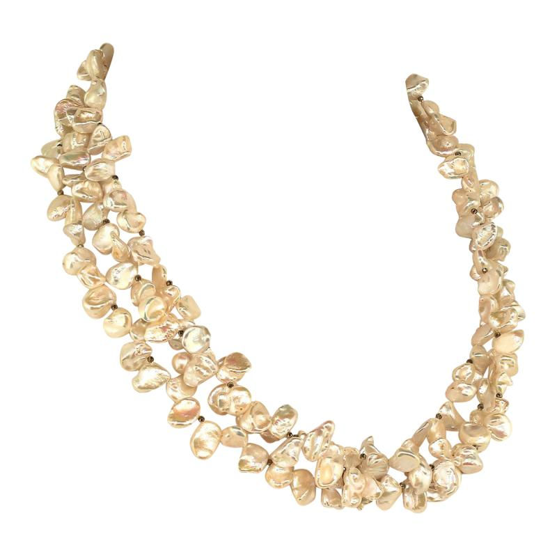 Gemjunky Elegant Three strand White Pearl necklace with Pyrite accents
