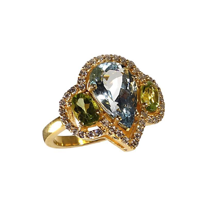 Gemjunky Glittering Dinner Ring of Aquamarine Peridot and Cambodian Zircon