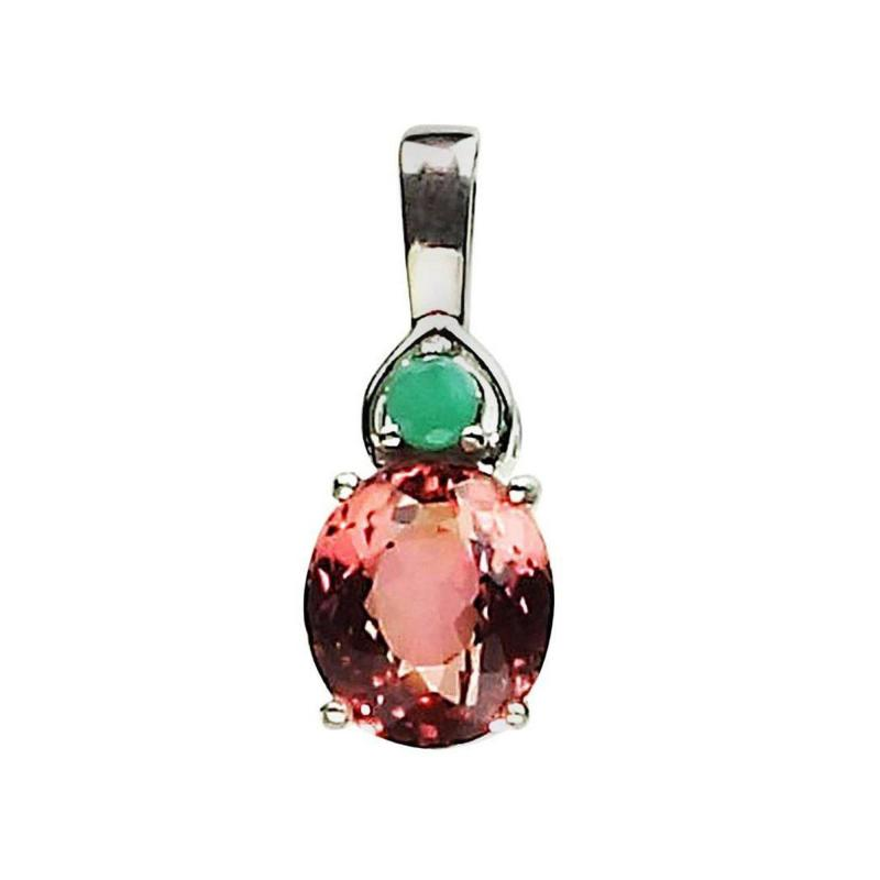 Gemjunky Oval Dark Peach Color Tourmaline and Emerald Pendant in Sterling Silver