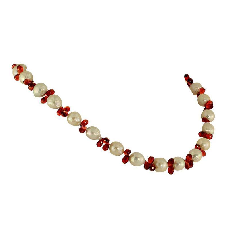Gemjunky Pearl and Garnet Briolette Choker Necklace