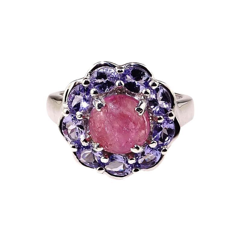 Gemjunky Pink Tourmaline Cabochon in Tanzanite Halo Sterling Silver Ring