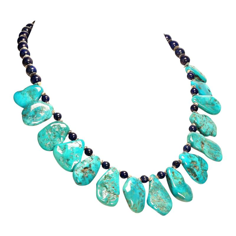 Gemjunky Sleeping Beauty Turquoise Necklace accented with Lapis Lazuli