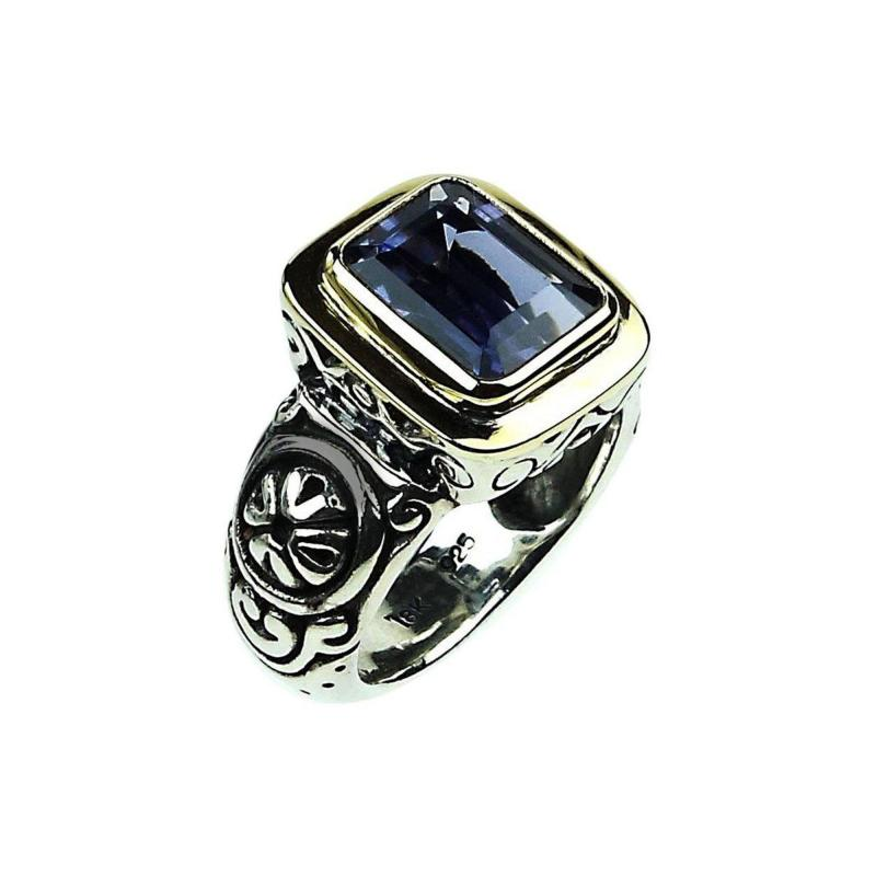 Gemjunky Sparkling Blue Iolite in Sterling Silver and 18K Gold Ring
