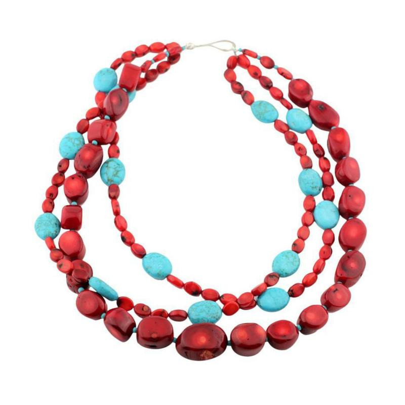 Gemjunky Statement Coral and Turquoise Triple Strand Necklace