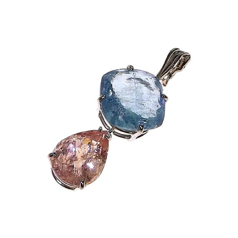 Gemjunky Striking Morganite and Aquamarine and Sterling Silver Pendant