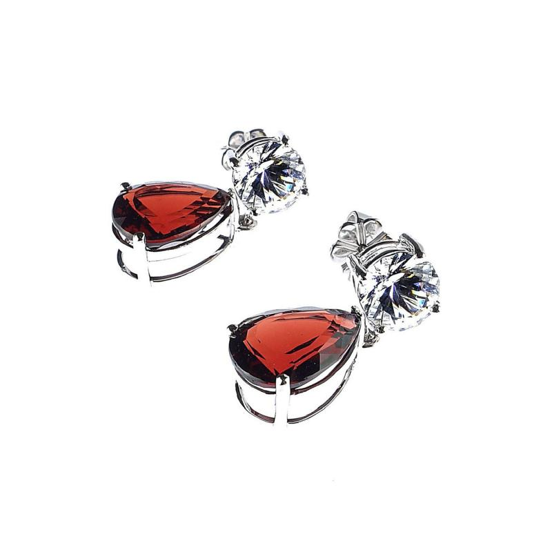 Gemjunky Stunning Garnet and White Danburite Dangle Earrings 14K white gold