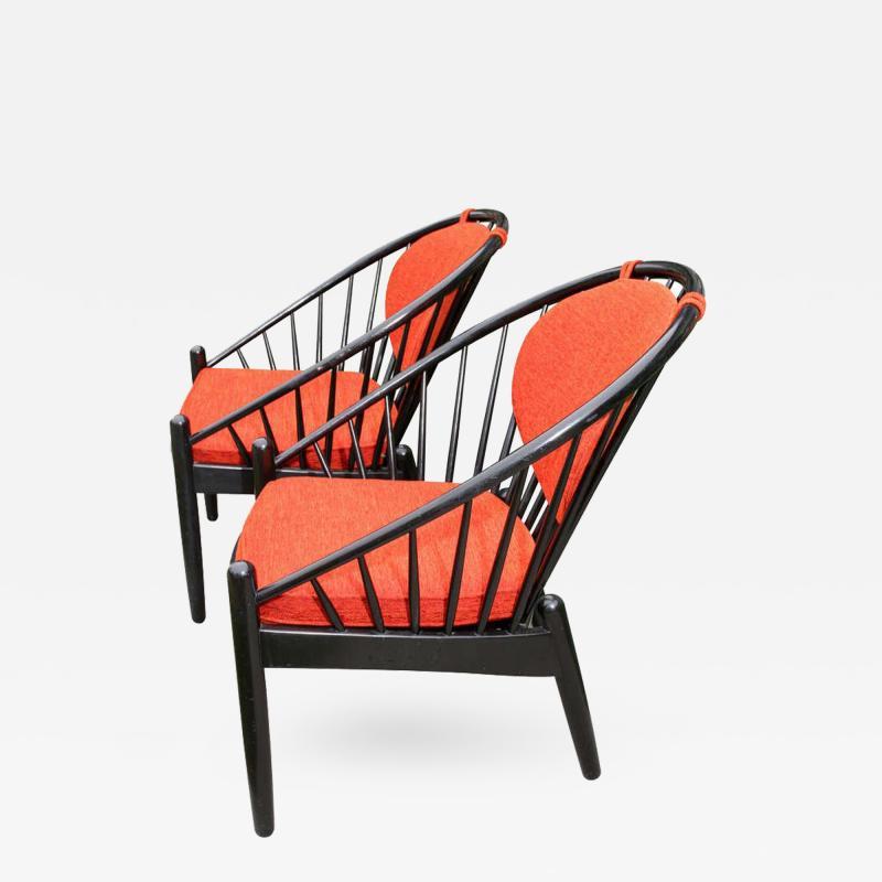 Gemla Pair of Mid Century Swedish Bent Beech Wood Hoop Chairs