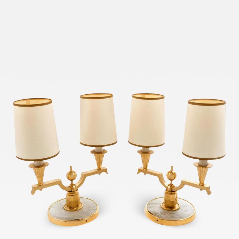 Genet et Michon ELEGANT PAIR OF ART DECO BRASS AND PARCHMENT TABLE LAMPS BY GENET MICHON