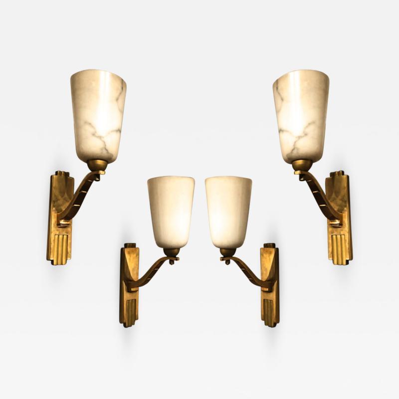 Genet et Michon Genet Michon exceptional quality gold bronze and alabaster 4 sconces