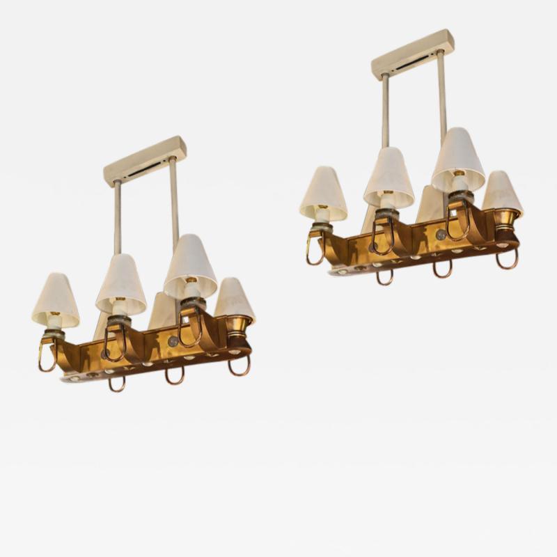 Genet et Michon Genet Michon rarest pair of gold 6 lights chandelier