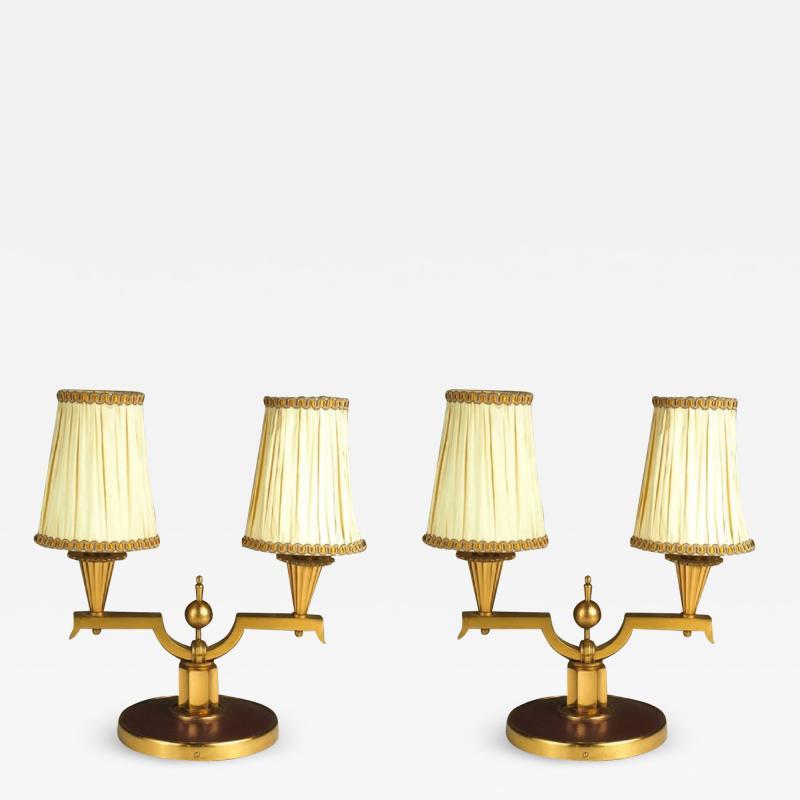 Genet et Michon Genet et Michon Pair of Gilt Bronze Lamps 1940