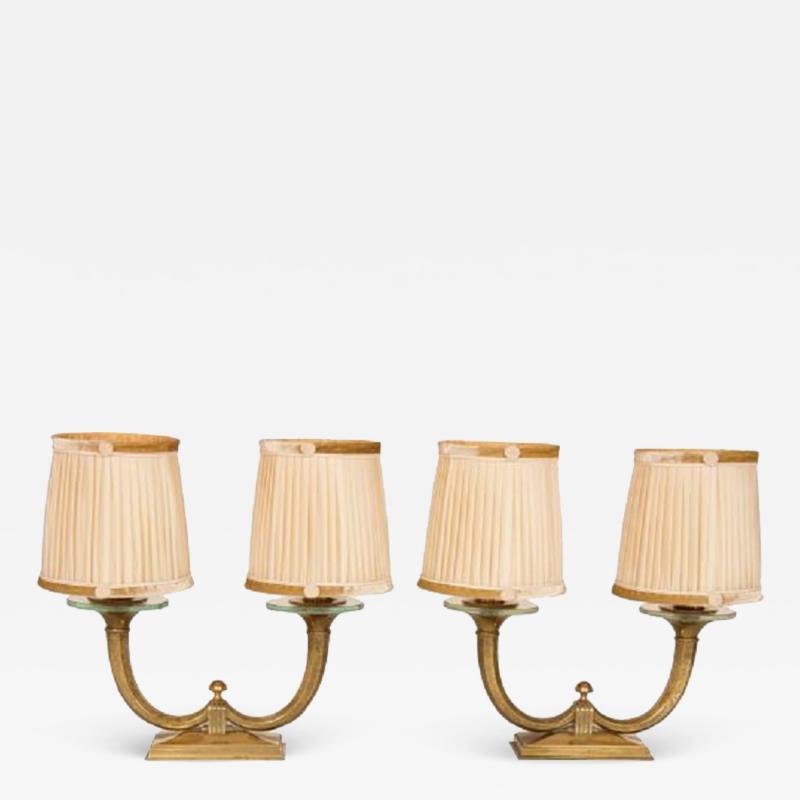 Genet et Michon Pair of Gilt Bronze Genet et Michon Lamps with Original Shades