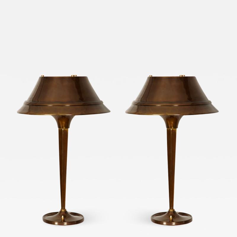 Genet et Michon Rare pair of 1930s lamps by Genet Michon