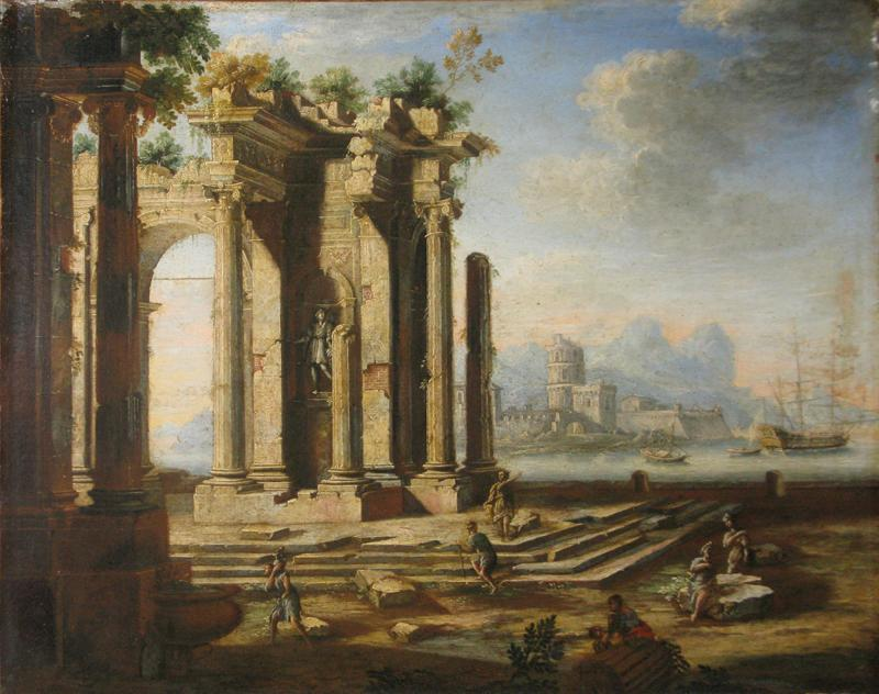 Gennaro Greco Il Mascacotta Classical Ruins with a Seascape in the Distance