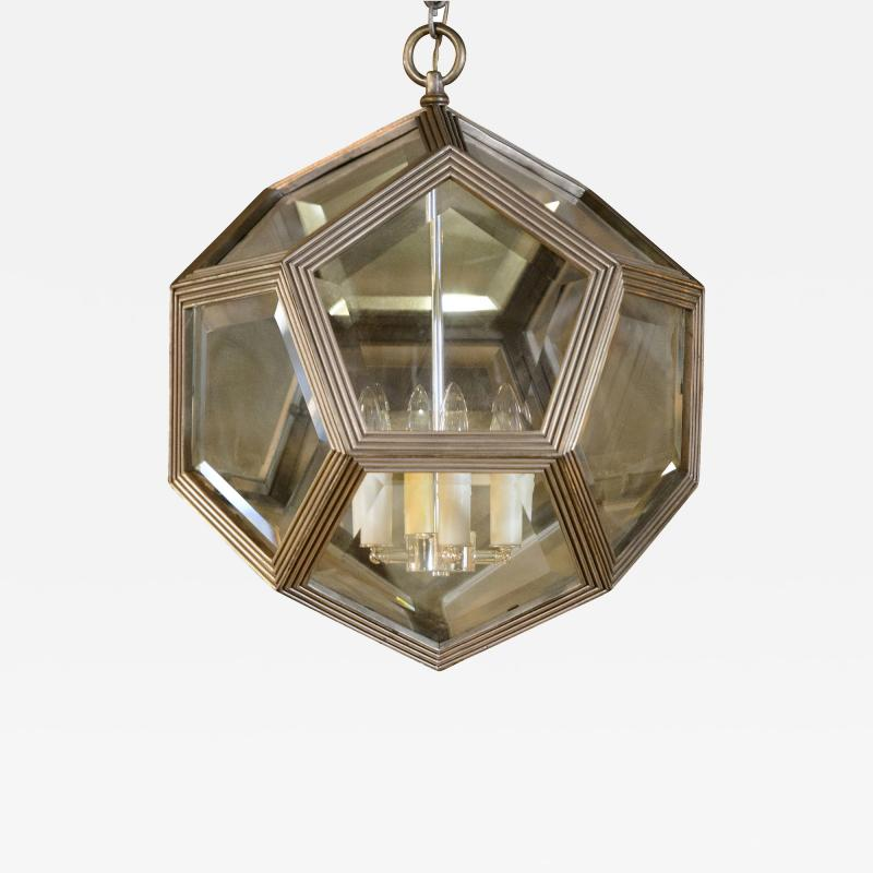 Geodesic Silvered Bronze Hanging Pendant Light