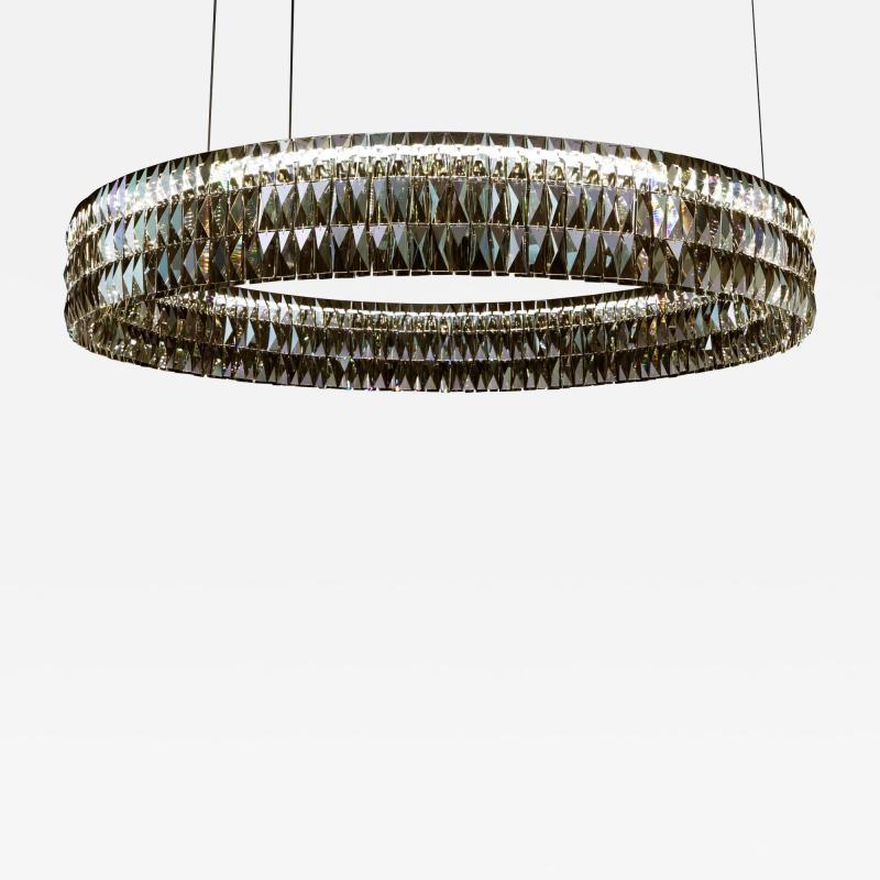 Georg Baldele GLITTERHOOP GOLDEN TEAK minimalist crystal chandelier