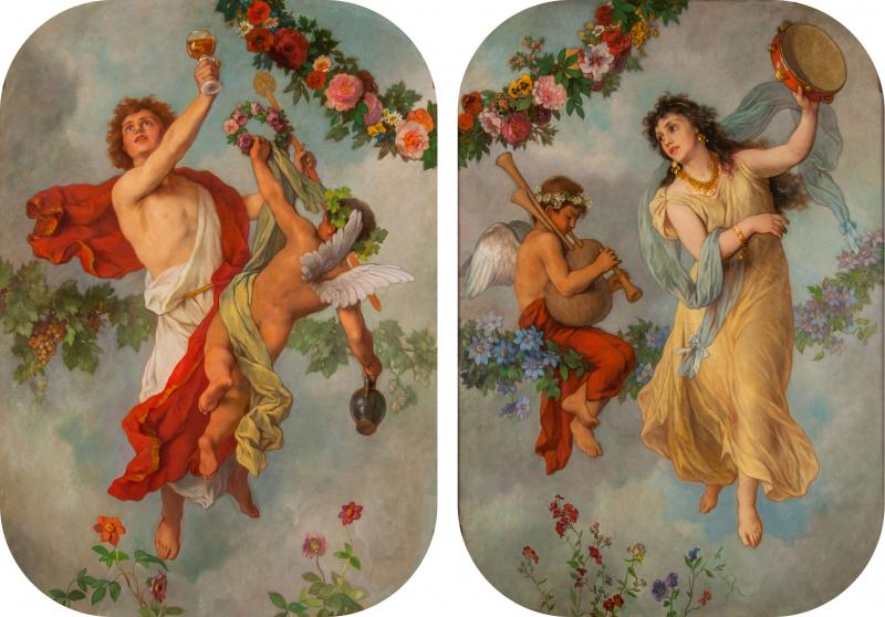 Georg Georg Cornicelius Pair of allegorical oil paintings by G Cornicelius
