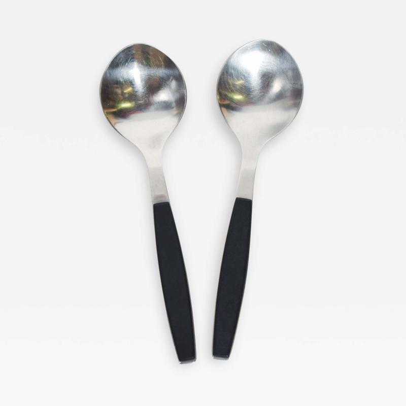 Georg Jensen 1970s Strata Black Stainless Flatware 2 Large Spoons Georg Jensen DENMARK